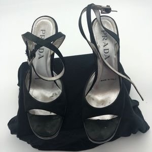Prada Satin Sandals sz 38 Acrylic Wedge
